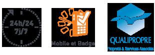 24h/24 7j/7 - Mobile et Badge - Qualipropre